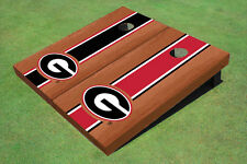 "University Of Georgia ""G"" Rosewood Alternating Long Stripe Custom Cornhole Board"