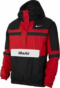 Men's Nike Air Sportswear Woven 1/2 Zip Jacket CJ4834-657 Black Red White