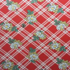 """Vintage Partial Feed Sack Cheerful Red Plaid w/Floral Accents  20"""" x 18"""""""