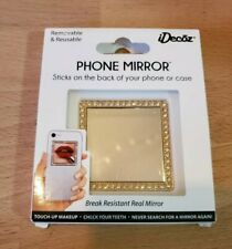 New IDecoz Phone Mirror Restickable GOLD Square With Crystal's *FREE SHIPPING*