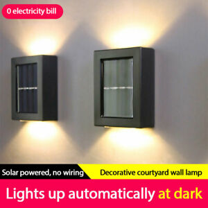 NEW 2PC Solar Wall Lamp Outdoor Garden Waterproof Light Up&down Decorative Lamp!