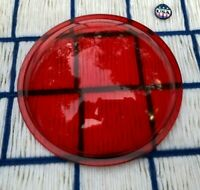 Vintage LANTERN ? Glass RED Maritime Roundel Traffic 5 & 5/8ths inches Lens Gel