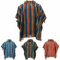 Poncho Hooded Cape Cotton LoudElephant Warm Festival Woven Rainbow Men Women