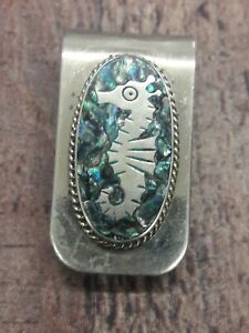 Vintage Mexican Alpaca Silver Abalone Inlay Money Clip seahorse in Green Tinted