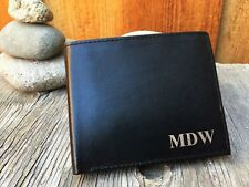 RFID Blocking Monogrammed Mens Genuine Leather Bifold Wallet Personalized BLK
