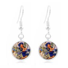 Fairy Art Photo Tibet Silver Dome Photo 16MM Glass Cabochon Long Earrings #115