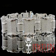 Mens Pave 14K White Gold Finish Round Cut Real Genuine Diamond Bracelet 2.0 Ctw