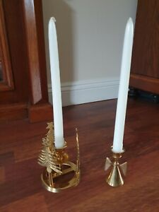 Christmas Vintage Brass Candle Holders