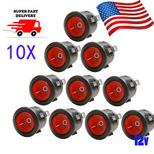 US RED CAR ROCKER SWITCHES 12V ROUND TOGGLE ON OFF 12 VOLT SNAP IN SWITCH