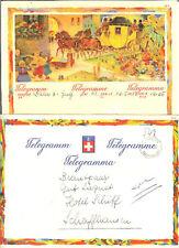 TELEGRAMME SUISSE THEMES ENFANTS CHEVAL TRANSPORT1950