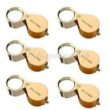 6 pcs Golden 30X 21mm Jeweler Jewellery Magnifier Magnifying glass Loupe w/ Case