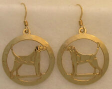 English Foxhound Jewelry Gold Earrings
