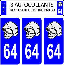 3 sticker plaque immatriculation auto DOMING 3D RESINE CASQUE POMPIER DEPARTE 64