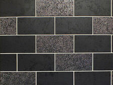 Tile on Roll Brick Wallpaper Glitter Black Kitchen Bathroom Blown Vinyl Ceramica