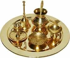 Pooja Brass Thali Puja Plate Hindu Aarti Om Set Diwali Religious Prayer 6 Temple