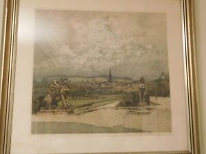 Etching by Luigi Kasimir of Belvedere Palace, Vienna signed by artist