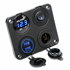 Blue LED Dual USB Car Charger+Voltmeter+12V Power Socket+On-Off Switch Panel Kit