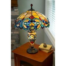 "Table Lamp Tiffany Style Victorian 26"" Amber Blue Red Stained Glass Lit Base"