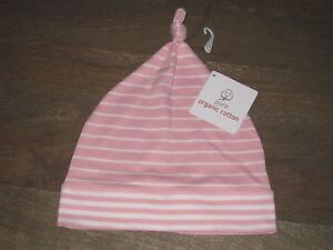 NWT Hanna Andersson Pink & White Striped Cap Hat. Sz SMALL  S - 1-3 yrs