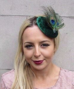 Emerald Green Peacock Feather Pillbox Hat Fascinator Hair Clip Races Velvet 4442