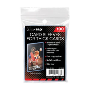 (100) Ultra Pro Thick Trading Card Sleeves For Extra Thick Cards Up To 130pts