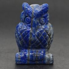 "1.5"" Natural  Lapis Lazui Crystal Carved Owl Statue Crafts Healing Reiki Decor"