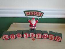 Rustic 10 pc Wood Blocks Santa Merry Christmas Display Christmas Decoration