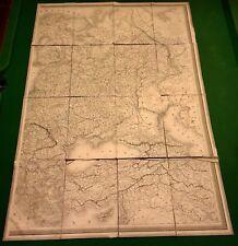 RARE ANTIQUE LARGE 40X26 LINEN FOLDING MAP ARTIC OCEAN NAUTICAL Circa 1850