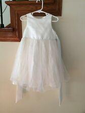 Jessica McClintock Girls Size T3 Sleeveless White Veil Satin/Tulle Flower Dress