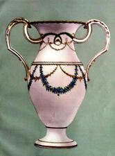 Vases à anses LOUIS XV et Guirlandes CHROMOLITHOGRAPHIE PORCELAINE NYON XXéme