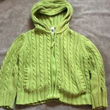 BabyGap Girls Solid Green Knitted Zip Up Hoodie Sweater Size 2T