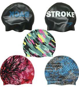 Speedo Swim Cap Unisex Adult Silicone Competition Graphic Print Swimming Cap