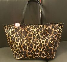 NEW AUTHENTIC GENUINE LEATHER VICTORIA'S SECRET LEOPARD TOTE BAG PURSE
