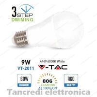 Lampadina led V-TAC 9W E27 bianco freddo 4500K VT-2011 dimmerabile 3 step globo