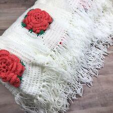 Vintage Crochet Afghan White & Pink Rose Blanket