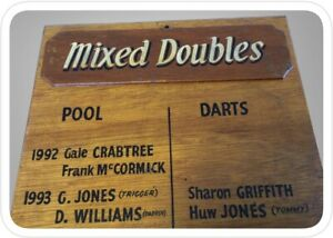 Hand Painted - Vintage Pool & Darts - Mixed Doubles - Pub Sign
