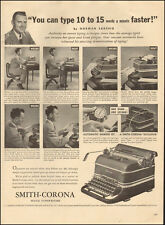 1947-Smith-Corona Office Typewriter`Photo Model Picture`Male/desk-Vintage Ad