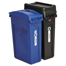 Rubbermaid Commercial Slim Jim Recycling Container Rectangular 23 gal Black/Blue