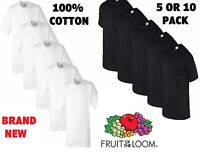 New Mens 5,10 PACK Fruit of the Loom White 100% Cotton T Shirt Wholesale  S -2XL