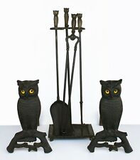 Antique Owl Andirons set with matching Tools, Rare, Rostand Manufacturing Co.