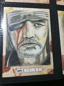 Cryptozoic Walking Dead Sketch Card 1/1 Artist Return THE GOVERNOR + Zombie Pin