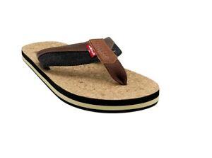 Levi's Men's Vista Cork T Strap Casual Slide Sandal Flip Flop Brown / Black US 7