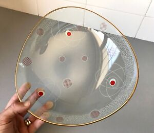 Retro vintage Mid Century ATOMIC Space Age 1950's ART GLASS BOWL Decorative DISH