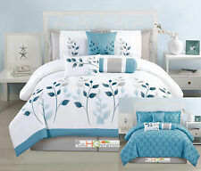 7-Pc Embroidery Leaves Trellis Reversible Comforter Set Blue White Silver King