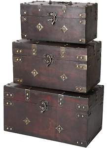 Montgomery Wooden Chest (Set of 3) | Decorative Wood Storage Trunk with Brown