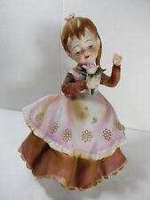 VTG Lefton China Japan Dancing Singer Girl Figurine Flower Ponytail Brown Dress