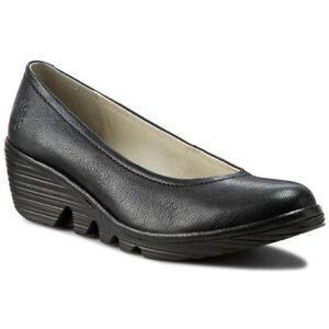 FLY LONDON YOKO SLIP ON WEDGE SIZE 37 Solid Black Heels Shoes Size 6.5-7
