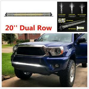 20'' Super Slim LED Light Bar 12D Dual Row Spot Flood Combo Beam w/Mount Bracket