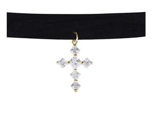 LISA S Dreamer Cross Faithful Love Necklace LSN001-048 Rose Gold / Black