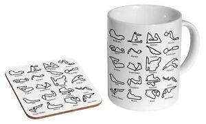 Racing Circuit Tracks Collage F1 GP - Coffee / Tea Mug And Coaster Gift Set